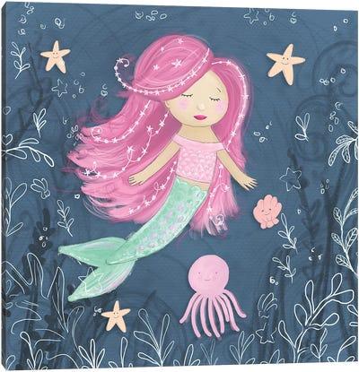 Mermaid and Octopus Navy I Canvas Art Print