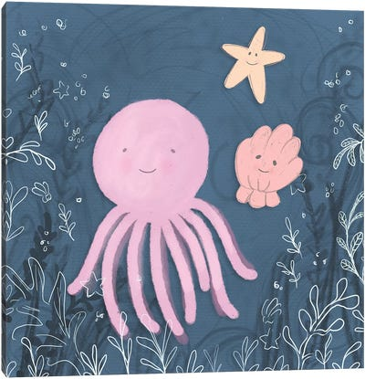Mermaid and Octopus Navy II Canvas Art Print