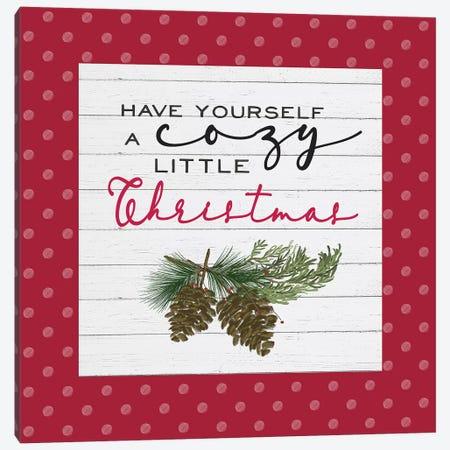 Cozy Christmas Dots I Pine cones Canvas Print #HRW40} by hartworks Canvas Art Print
