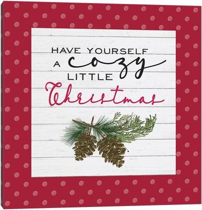 Cozy Christmas Dots I Pine cones Canvas Art Print