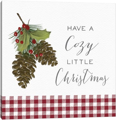 Cozy Christmas Gingham I Canvas Art Print