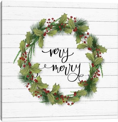Cozy Christmas Wreath I Canvas Art Print