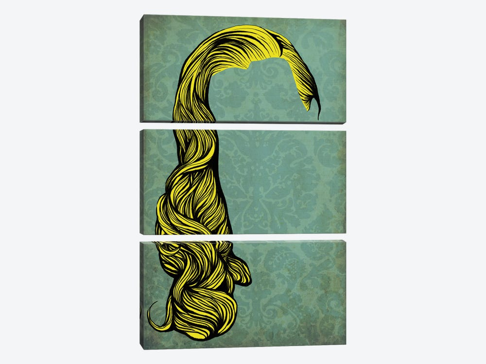 Big Hair by 5by5collective 3-piece Canvas Art Print