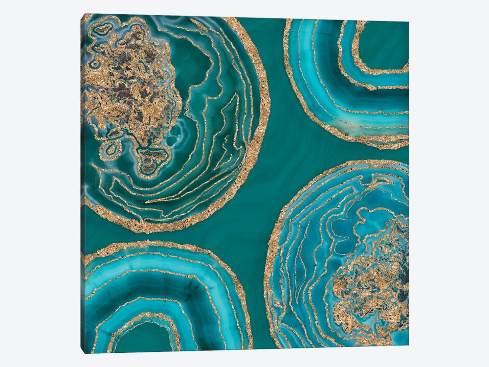 Elegant Teal Gold Agate by Andrea Haase 1-piece Canvas Wall Art