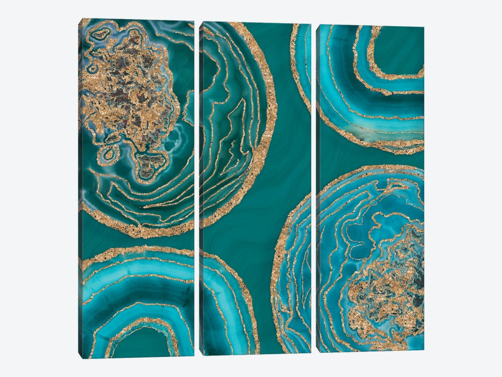 Elegant Teal Gold Agate by Andrea Haase 3-piece Canvas Art