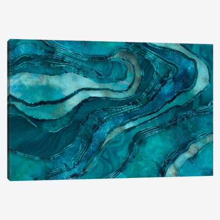 Glamour Marble Amber Turquoise Canvas Print #HSE27} by Andrea Haase Art Print