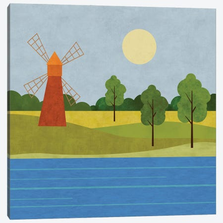 The Old Windmill Canvas Print #HSE77} by Andrea Haase Canvas Wall Art