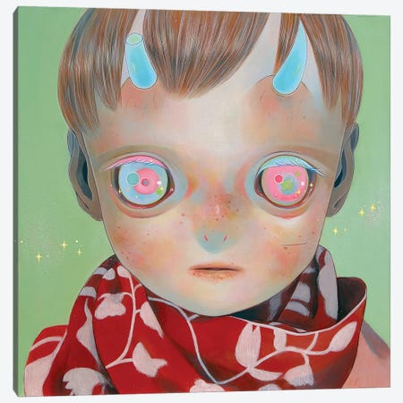 Blue Horns, Red Scarf Canvas Print #HSH1} by Hikari Shimoda Canvas Art Print