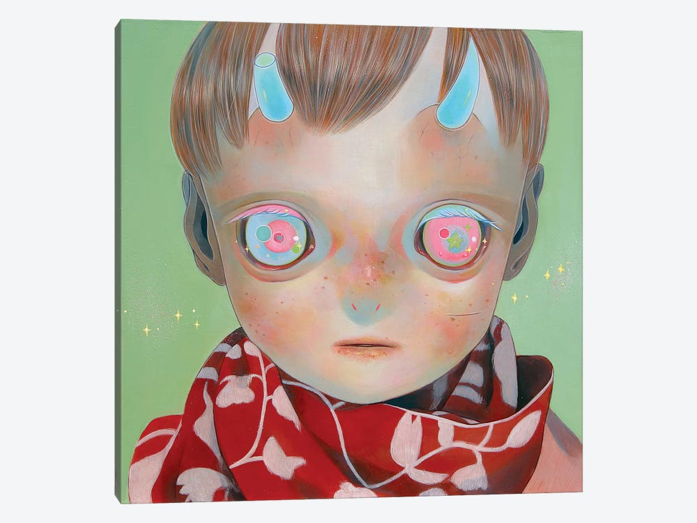 Blue Horns, Red Scarf by Hikari Shimoda 1-piece Canvas Art