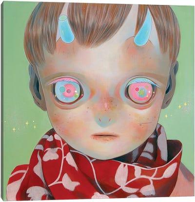 Blue Horns, Red Scarf Canvas Art Print