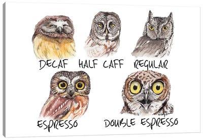 Owl Caffeine Meter Canvas Art Print