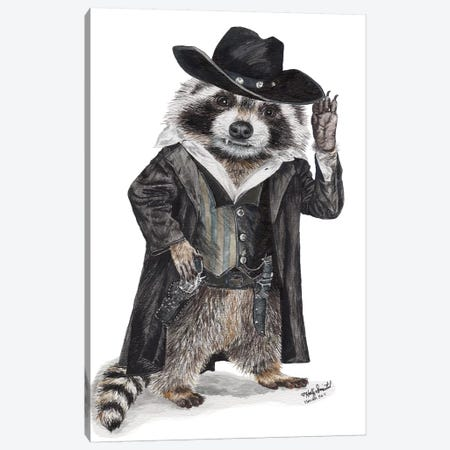 Raccoon Bandit Canvas Print #HSI15} by Holly Simental Canvas Wall Art