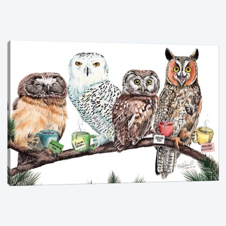 Tea Owls Canvas Print #HSI17} by Holly Simental Canvas Art