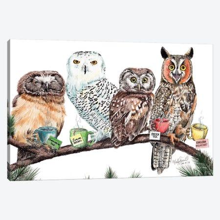 Tea Owls Canvas Print #HSI17} by Holly Simental Canvas Art