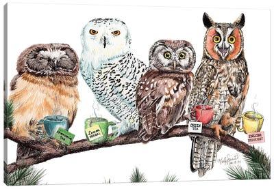 Tea Owls Canvas Art Print