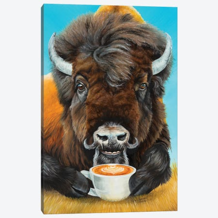Bison Latte Canvas Print #HSI1} by Holly Simental Canvas Wall Art