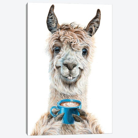 Llama Latte Canvas Print #HSI21} by Holly Simental Canvas Wall Art