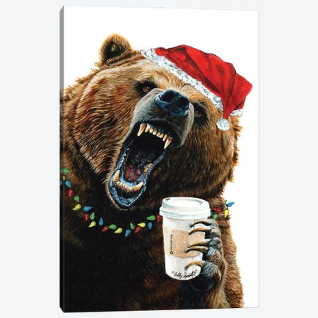 Grizzly Mornings Christmas Canvas Print #HSI22} by Holly Simental Canvas Artwork
