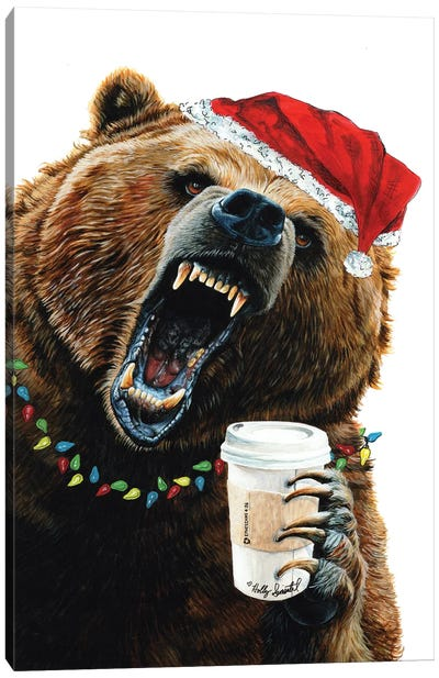 Grizzly Mornings Christmas Canvas Art Print