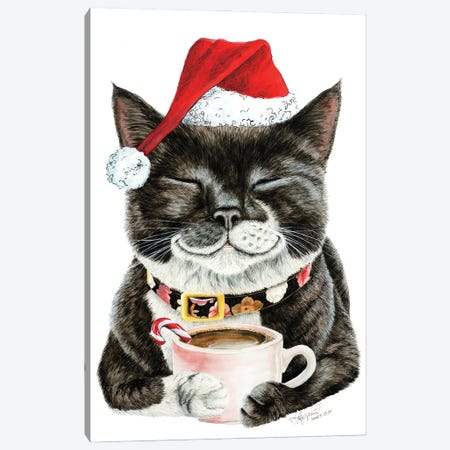 Purrfect Morning Christmas Canvas Print #HSI24} by Holly Simental Canvas Print