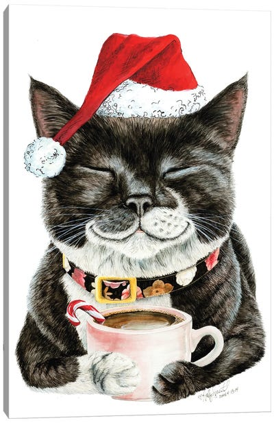 Purrfect Morning Christmas Canvas Art Print