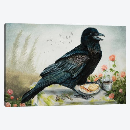 Breakfast With The Raven Canvas Print #HSI3} by Holly Simental Canvas Wall Art
