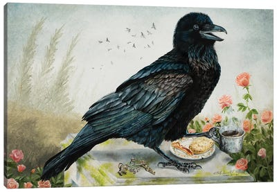 Breakfast With The Raven Canvas Art Print