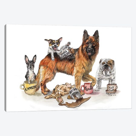 Coffee Dogs Canvas Print #HSI5} by Holly Simental Art Print