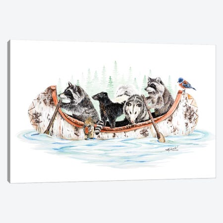 Critter Canoe Canvas Print #HSI6} by Holly Simental Art Print