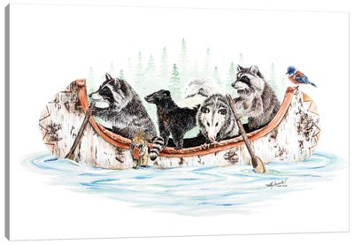 Critter Canoe Canvas Art Print