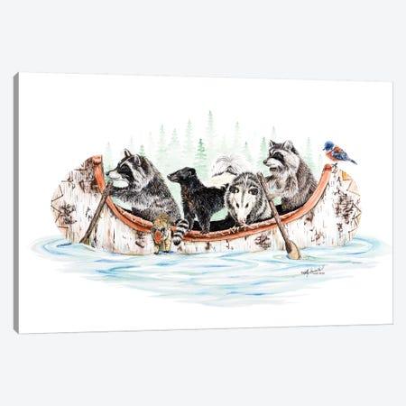 Critter Canoe Canvas Print #HSI6} by Holly Simental Art Print