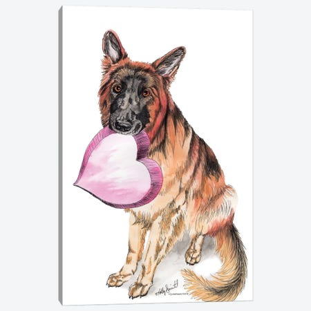 German Shepherd Love Canvas Print #HSI7} by Holly Simental Art Print