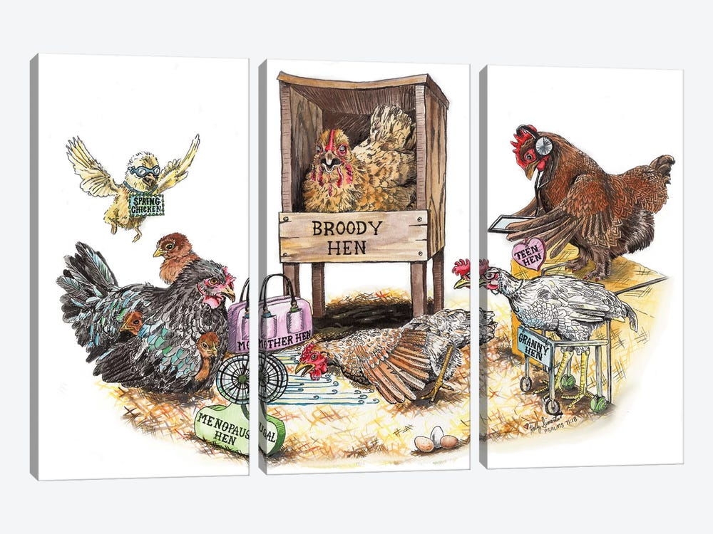 Life In The Coop by Holly Simental 3-piece Canvas Print