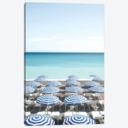 Blue Beach Parasols Canvas Print #HSK5} by Henrike Schenk Art Print
