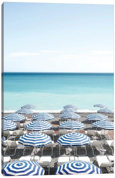 Blue Beach Parasols Canvas Art Print