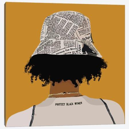 Protect Black Women Yellow Canvas Print #HSM109} by Artpce Canvas Wall Art