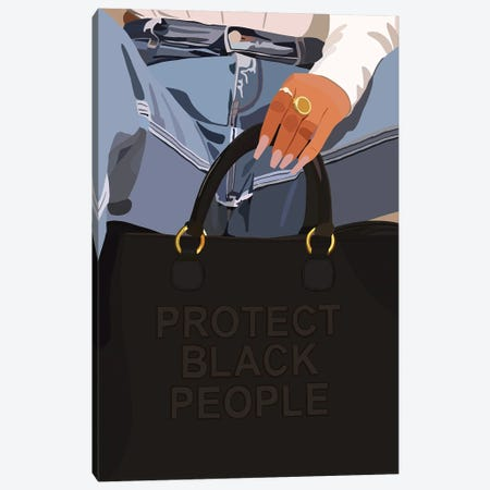 Protect Black People Canvas Print #HSM15} by Artpce Canvas Artwork