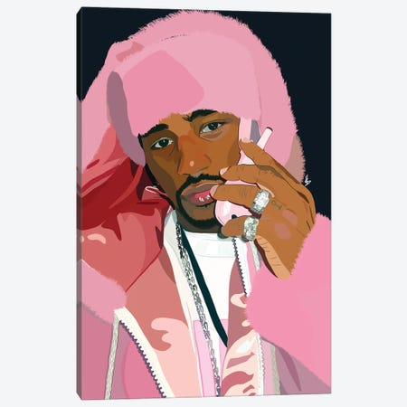 Pink In Full Canvas Print #HSM21} by Artpce Canvas Artwork