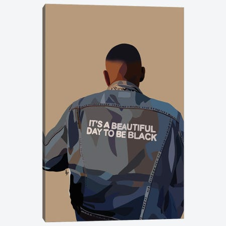 It's A Beautiful Day To Be Black Canvas Print #HSM36} by Artpce Canvas Art