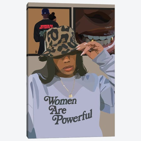 Women Are Powerful Canvas Print #HSM3} by Artpce Canvas Wall Art