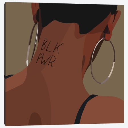 Black Power Canvas Print #HSM61} by Artpce Canvas Wall Art