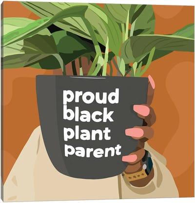 Black Plant Parent Canvas Art Print