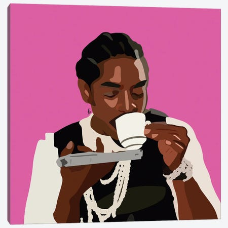 Sips Tea Canvas Print #HSM8} by Artpce Canvas Wall Art