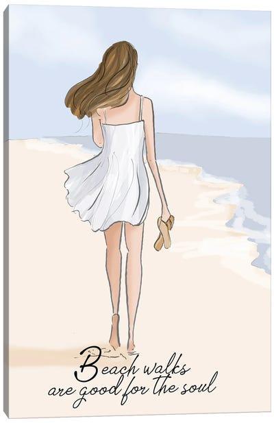 Beach Walks Are Good For The Soul Canvas Art Print