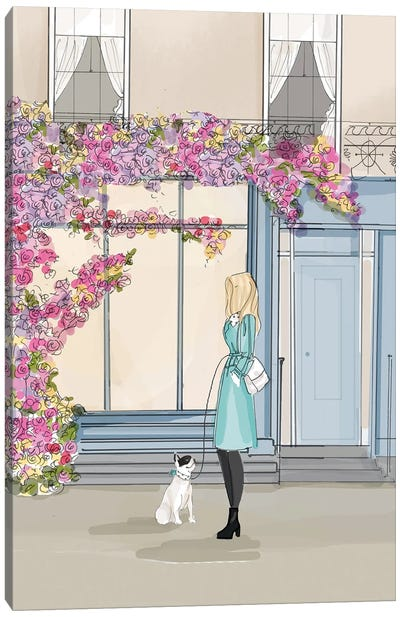Bookshelves And Flowers Canvas Art Print