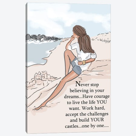 Build Your Sandcastles Canvas Print #HST31} by Heather Stillufsen Canvas Artwork