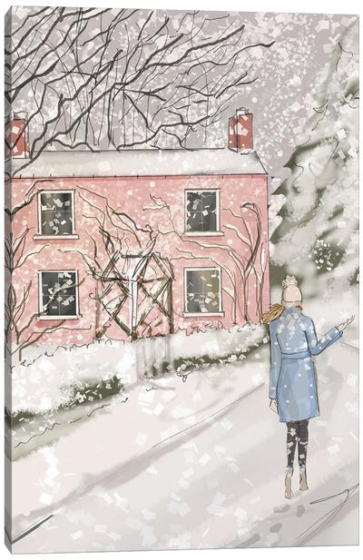 Baby Pink Cottage Canvas Art Print