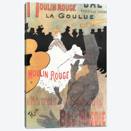 Moulin Rouge: La Goulue Advertisement, 1891 Canvas Print #HTL1} by Henri de Toulouse-Lautrec Canvas Art