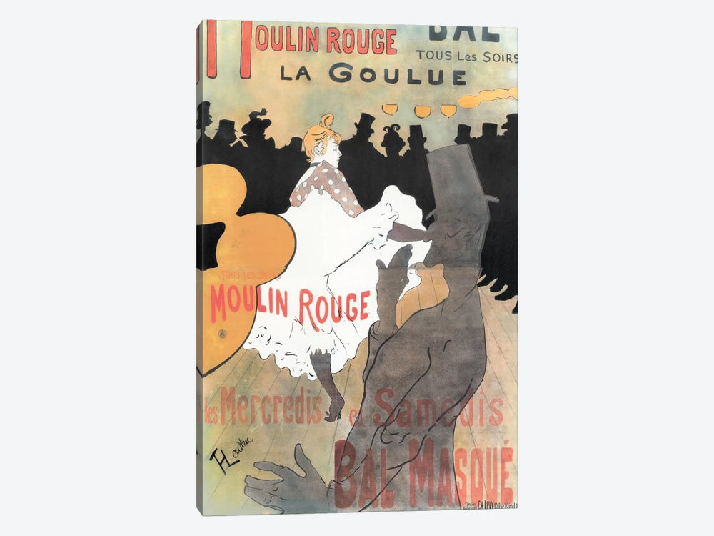 Moulin Rouge: La Goulue Advertisement, 1891 by Henri de Toulouse-Lautrec 1-piece Canvas Print