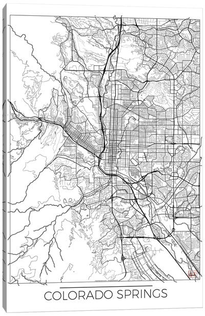 Colorado Springs Minimal Urban Blueprint Map Canvas Art Print